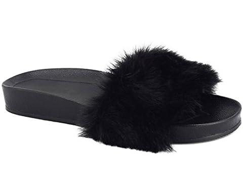 MaxMuxun Chaussures Femme Sandales Plats Slippers Pantoufles Sexy Fourrure EU 40 Motif Noir