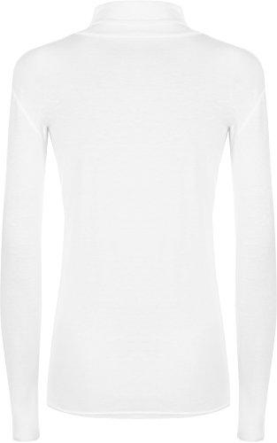 WearAll - Haut à manches longues à col roulé - Hauts - Femmes - Grandes tailles 44 à 54 Blanc