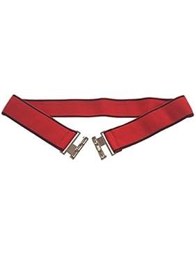 Cinturón elástico rojo con tiras de 4 cm de ancho.