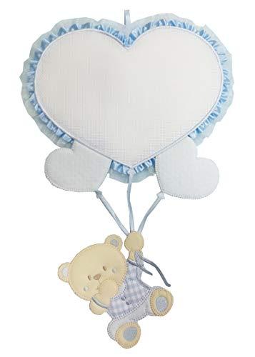 Fiocco nascita palloncino cuore azzurro e orsetto da ricamare lavorato del tutto a mano