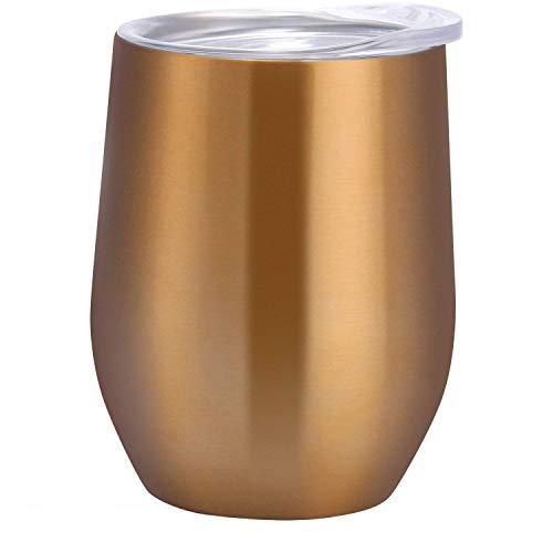 Favson Trinkbecher mit Deckel für Wein, Kaffee, Getränke, Champagner, Cocktails, Edelstahl, 340 ml, 2 Sets (Golden)