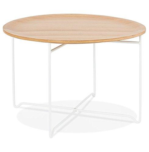 Alterego - Table Basse de Salon 'IMOTEP' Blanche en Bois et métal