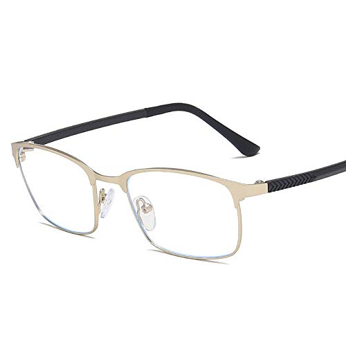 Retro Square Business Brillengestell TR90 Metall Brillen Anti Blu Ray Plain Glasses Brille (Color : Silber, Size : Kostenlos)