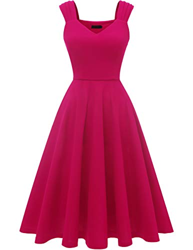 Dresstells Damen 1950er Rockabilly Kleid Vintage V-Ausschnitt Cocktailkleid Faltenrock Rose 2XL