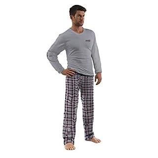 e.VIP® Herren Schlafanzug Chris 296A Langarm Lange Hose Reine Baumwolle in Farbe Grau/Weinrot kariert in Größe M