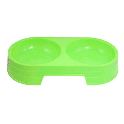Grün Kunststoff Double Diner Pet Cat Dog Food Wasser Schüssel