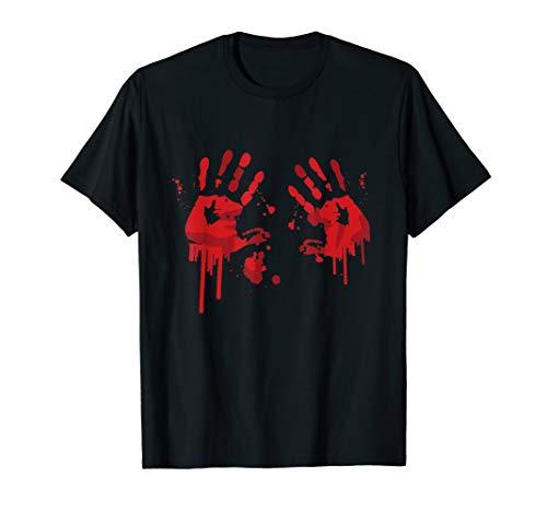 Blutige Hände Grafik Druck Grusel Halloween Fun Shirt  T-Shirt