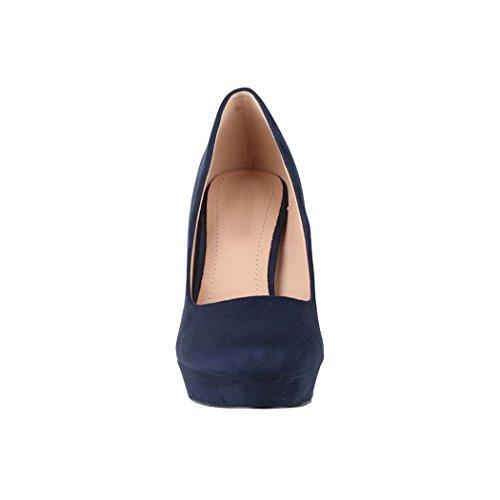 Elara Damen Pumps | Bequeme High Heels | Vintage-Style | Abendschuh Trendy | Chunkyrayan | E22360 Navy-39 - 4