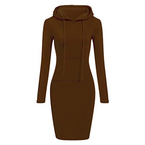 QingJiu Womens Long Sleeve Solide Patchwork O Hals LäSsige Lange Mit Kapuze Sweatershirt Kleid (XX-Large, Kaffee)
