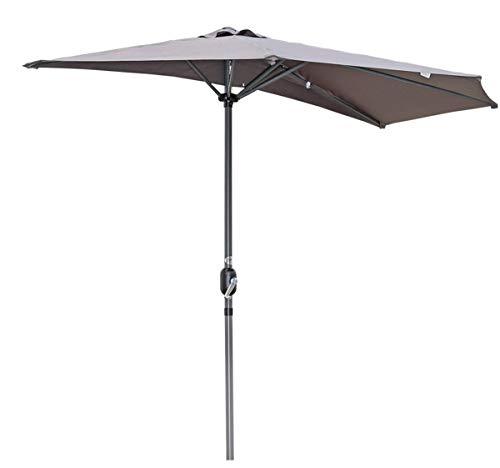 Angel Living 270cm Halbrund Sonnenschirm, Marktschirm,Terrassenschirm mit Kurbel für Garten,Terrassen, Höfe,Schwimmbäder,mit UV-Schutz 40+ Grau