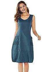 Yidarton Damen Kleider Strand Elegant Casual A-Linie Kleid Ärmellos Sommerkleider(Blau,M