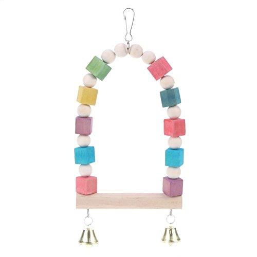 demiawaking Parrot Swing Colorful Spielzeug mit Glocke Bird Swing natur Parrot Schaukeln