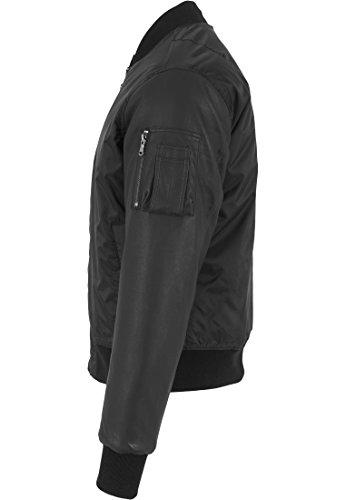 Urban classics veste pour homme bomber manches basic veste en imitation cuir Noir (Schwarz)