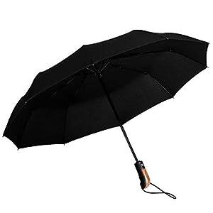 Parapluie Pliant à Ouverture et Fermeture Automatique Compact et Facile à Transporter avec 10 Baleines et Toile Coupe-Vent étanche à l'Eau et aux Rayons UV