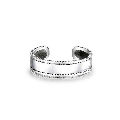 Geflochtenem Rand Bali Stil Midi- Zehe Ringe Für Damen Glatte Wide Band Sterling Silber Einstellbare Mitte Finger