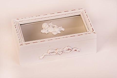 Shabby Chic Boîte en bois avec ange avec couvercle en verre, bois Boîte à pour bijoux, cadeau, mariage, Vintage