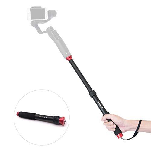 """Moman Monopiede Estensibile per Gimbal Stabilizzatore per DJI OSMO Mobile 2 Zhiyun Smooth Moza Feiyu Smartphone, Selfie Stick Gimbal Monopod 26,5-44cm, con Vite di Montaggio da 1/4""""e 3/8"""""""