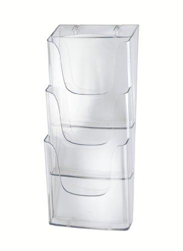 Sigel LH135 Wand-Prospekthalter aus Acryl mit 3 Fächern, DIN A4, transparent