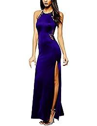 cd6575e87c05 Angelwing da Donna Sottile Vestito con Aberturas Abito Maxi di Pizzo Senza  Schienale Vestiti da Cerimonia Abito da…