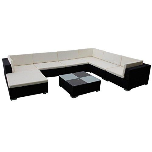 vidaXL 24-tlg. Poly Rattan Sitzgruppe Gartenmöbel Sitzgarnitur Lounge Gartenset