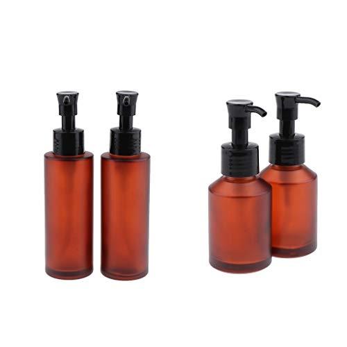 B Blesiya 4 Stück Apotheker-Sprühflasche Spray Flasche aus Braunglas, kleine Glasflaschen mit Zerstäubereffekt