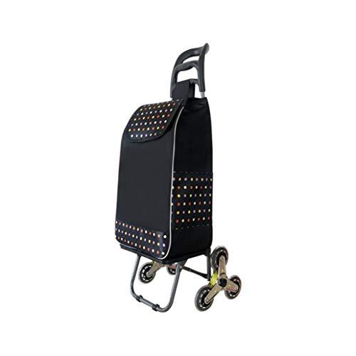 Steigender Treppenlaufkatze Faltbarer kaufender Gemüselaufkatze-Supermarkt-Einkaufswagen Edelstahl-Achse GW (Farbe : Schwarz)