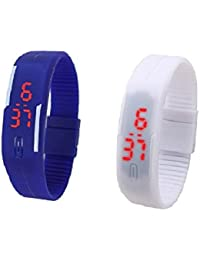 RTimes Blue and White Unisex Multicolor Set of 2 Digital Rubber Jelly Slim Silicone Sports Led Smart Band Watch for Boys, Girls, Men, Women, Kids
