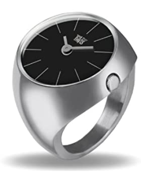 Davis - Ring Watch 2000M – Ringuhr Damen Saphirglas Gewölbt - Ziffernblatt Schwarz Stabzeiger - Größe 55