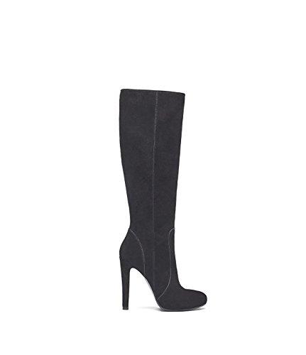 PoiLei Olivia - Damen-Schuhe/Eleganter High-Heel Langschaft-Stiefel Aus Velours-Leder - Spitz-Zulaufend, mit Stiletto-Absatz und Schöner Zier-Naht - Schwarz (Leder Stiletto Stiefel)