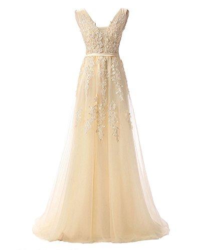 Erosebridal Ärmellos Spitze Chiffon Hochzeitskleid Brautkleid Champagner