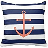 Decorative Home Sofa Navy Blue and Coral Anchor Pillow Cover Cushion case/Kissenbezüge Cotton Standard Size 18 by 18 wi
