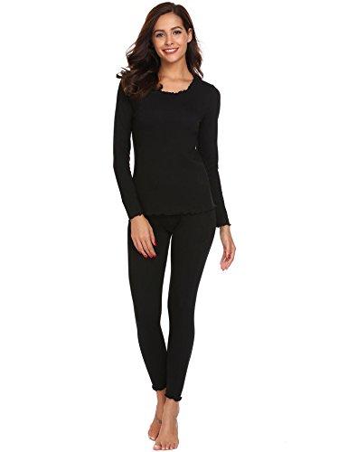 ADOME Damen Thermo-Unterwäsche Set Schlafanzug O-Ausschnitt mit Elastische Taille Unterhose und Langarm Shirt Pyjama, Schwarz, EU 44(Herstellergröße:XXL) (Langarm-schlafanzug Set)