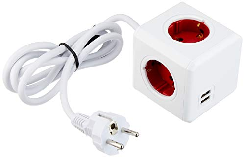 allocacoc PowerCube DuoUSB Extended Rot EU, 4 fach Steckdosenverteiler mit 2,1 A USB Ladestrom, Weiß Rot