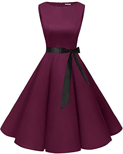 bbonlinedress 50s Retro Schwingen Vintage Rockabilly Kleid Cocktail Faltenrock Burgundy L -