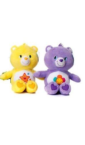 2-peluches-bisounours-30-cm-1-jaune-1-violet