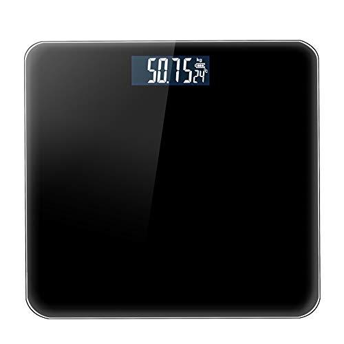 PGODYQ Waage Elektronische Waage Haushaltswaage für die Erwachsenengesundheit Hochpräzise Waage, Elegante, ultradünne elektronische Waage, abgerundetes Design, beleuchtetes Display-Black