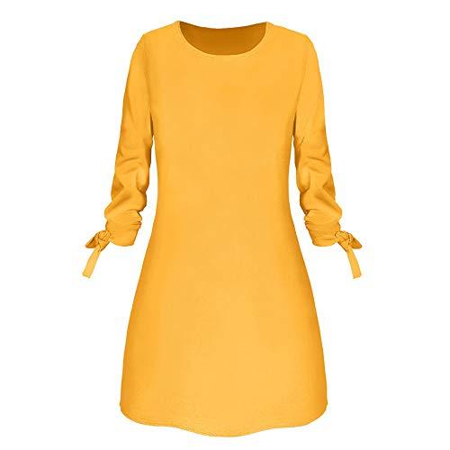 Amuse-MIUMIU Women Half a line Dress,Women Round Neck Solid Bow Elegant Straigth Dress Spring Loose Ladies Dresses Skater Shift Western Party Knee Dress Fancy Dress for Women/Girl/Lady (Girls Yellow Polka Dot Kleid)
