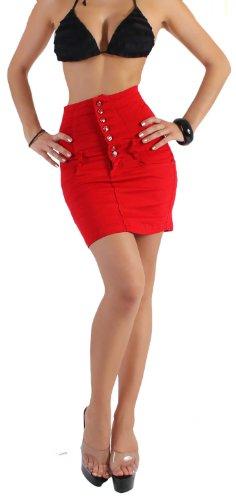 Damen Hochschnitt Rock Minirock mit Corsage in 6 Farben S/36-XXL/44 Rot