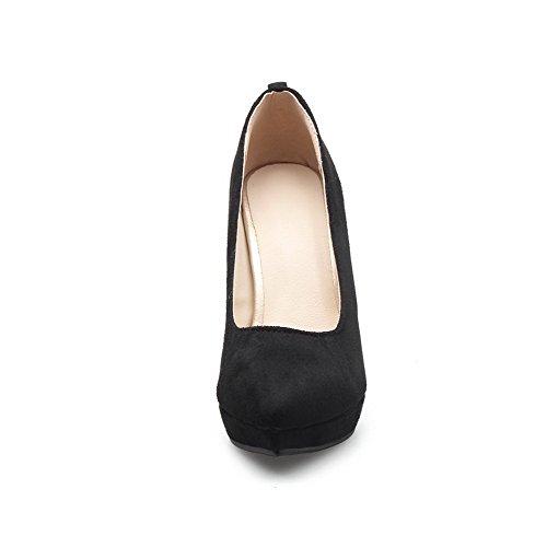 VogueZone009 Femme Couleur Unie Dépolissement Stylet Tire Pointu Chaussures Légeres Noir