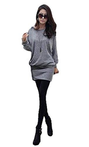 Mississhop 95-31 Damen Minikleid festlich Glitzer Kleid Pulli Tunika Grau M