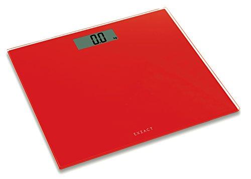 EXZACT Balance Electronique de Corps / Balance de Bain Numérique/ Balance électronique Personnel / Numérique Pèse/ Pèse-personne électronique / Balance digitale - Ultra Slim 1,7 cm d'épaisseur -150 kg / 330 lb - Couleur Plate-forme de verre (Rouge)