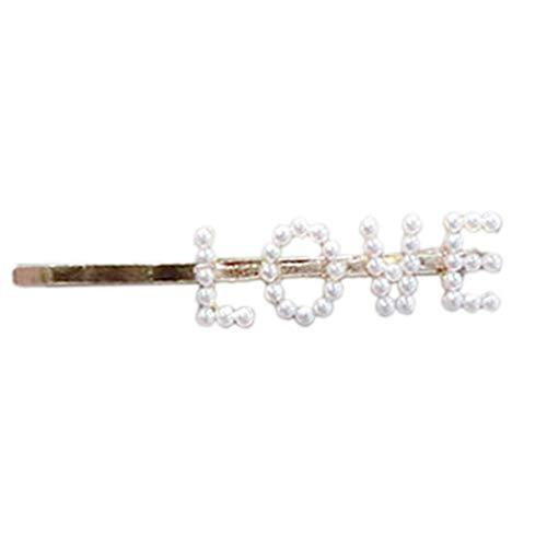 Meiqqm Haarspange für Damen, Vintage-Stil, mit einem Wort und Kunstperlen, lustige Buchstaben, Alphabet, Metalllegierung, Party-Haarspangen