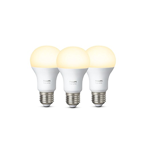 Philips Hue White - Pack de 3 bombillas LED E27, 9,5 W, iluminación inteligente, luz blanca cálida regulable (compatible con Amazon Alexa, Apple HomeKit y Google Assistant)