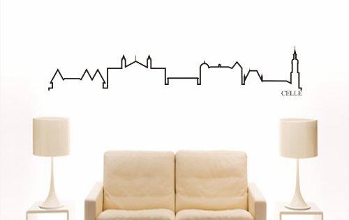 WANDTATTOO e739 Skyline Stadt - Celle (Deutschland) Design 4 - 180x35 cm - schwarz