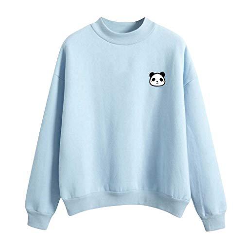 MOTOCO Damen Casual O-Ausschnitt Langarm Pullover Einfarbig Buchstabenmuster Pullover Sweatshirt Bluse(2XL,Blau)