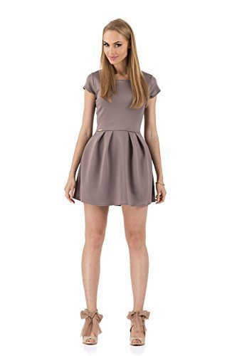 MAKADAMIA Femmes Mini Robe Patineuse Col Rond Manches Courtes Tailles 8-12 UK FA265 Cappuccino