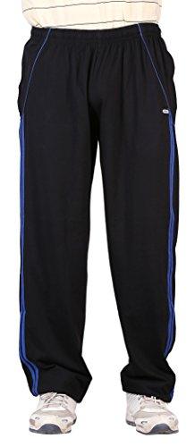 NCI Men's Cotton Track Pant (nciblack&bluestripes--48, Black, 48)