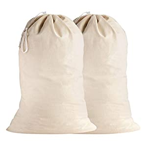 SweetNeedle - 2er Pack - 100% Baumwolle Extra große Heavy Duty Wäschebeutel in natürlicher Farbe - 71x91 CM (28x36 IN) - Sehr langlebig, Kordelzug mit Kordelzug, maschinenwaschbar und wiederverwendbar