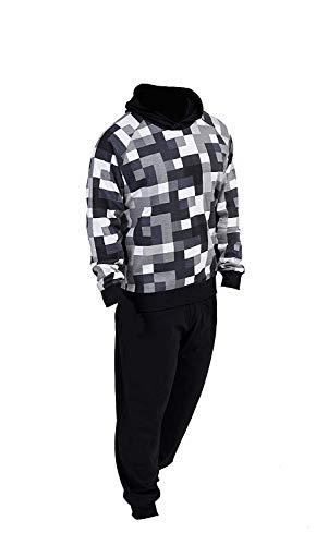 Citycomfort pigiama pixel ragazzi pigiami per bambini pigiama 100% cotone felpa con cappuccio tuta da gioco per videogiochi pj set (11-12 anni, nero pixel)