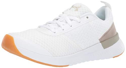 Under Armour Aura Trainer, Scarpe Sportive Indoor Donna, Bianco Metallic Faded Gold/White 100, 42 EU